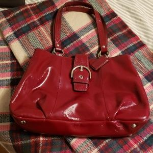 COACH red patent leather satchel